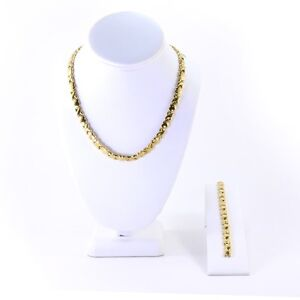 "XOXO 14k gold plated Hugs And Kisses stampato Necklace 18"" Bracelet Set"