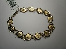 14 KT Yellow Gold Saints Medals Bracelet 8 Inches, Religious, 8 grams, NWT
