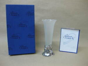 Silver Scenes Silver Plated & Opaque Glass Vase Snowdrop ~ Boxed ~ Made in Wales