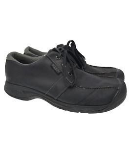KEEN Sz 13 EU 47 Black Leather Double Stitch Comfort Lace Up Casual Mens Shoes