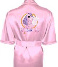 Children's Personalised UNICORN Satin Silky Robe / Dressing Gown Child's Gift