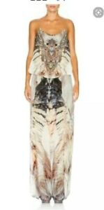 Camilla Sky of Shadows Shoestring Jumpsuit Long Split Leg Silk Crystals size 1