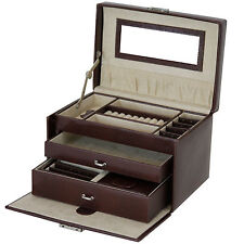 Jewelry Box Genuine Leather Brown With Travel Case