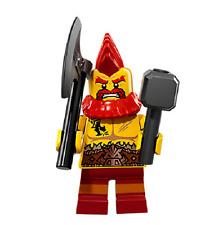 LEGO MINIFIGURA  SERIES 17 EDICION 71018 ENANO GUERRERO MEDIEVAL HACHA NEW