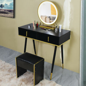 Makeup Vanity Table Set w/ Stool Touch Switch Light Round Mirror $ 2 Drawers US