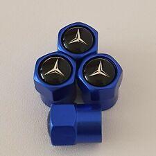 MERCEDES BENZ Blue Metal Valve Dust Caps for all models SLK S CLA A C CLASS VITO