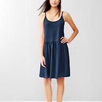 GAP Blue Fit & Flare Cami Tee Jersey Mini Dress Spaghetti Strap Pockets Size M