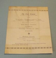 1889 Chicago Vocal Amateur Club Third Musicale Concert Program Eva Wanzer