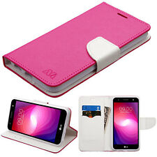 For LG X Power 2 Premium Leather 2 Tone Wallet Case Pouch Flip Phone Cover