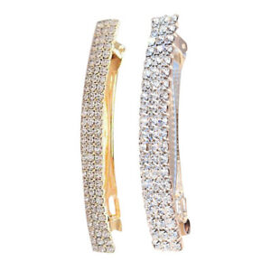 2PCS Rhinestone French Barrette Spring Ponytail Holder Large Hair Clip Pin