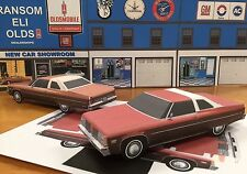 PAPERCRAFT Oldsmobile 98 Regency 2 dr WHITE/RED PaperCar EZU-build 1976 Toy Car