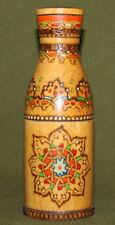 Vintage decorative hand made pyrography wood bottle
