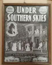 Framed Under Southern Skies Lottie Blair Parker Photo, 1902 Antique Sheet Music