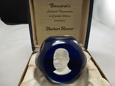 Baccarat France crystal 1971 Herbert Hoover sulphide cameo navy paperweight box