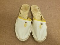 J.Crew Midsole Espadrille Women Slides White Pineapple Sandal Slip On Shoes Sz 9