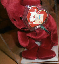 RARE! Authenticated TY 3rd gen New Face Cranberry Teddy Beanie Baby
