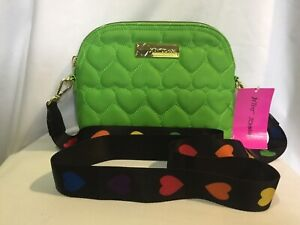 BETSEY JOHNSON GREEN QUILTED HEARTS CROSSBODY PURSE BAG RAINBOW HEART STRAP