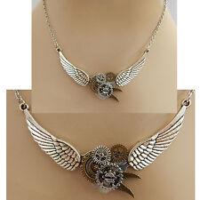 Silver Steampunk Heart, Wings & Gears Necklace Jewelry Handmade NEW Fashion