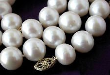 AAA++ 11-12MM NATURAL WHITE UNROUND FRESHWATER CULTURED PEARL NECKLACE 18''