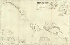 1827 Nautical Chart Coastal Survey Map Composite US coast NY to St. Augustine