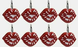 CandyGrid Red Lips Shower Curtain Hooks,  Rings Metal 8pcs