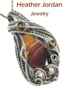 Brazilian Agate Wire-Wrapped Necklace in Sterling Silver with Citrine