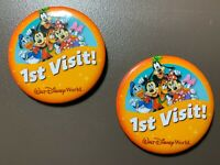 """Walt Disney World Pin Buttons First 1st Visit Mickey Mouse & Friends 3"""" Set of 2"""