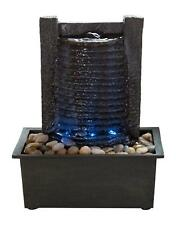 Indoor Water Fountain With LED Lights- Lighted Waterfall Tabletop Stone Wall and