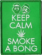 Cheech and Chong Keep Calm Embroidered Iron On Patch - Hippie Pot Leaf - 151-D
