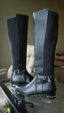 Michael Kors Aileen Black Leather Boots Silver MK Charm Size 6 NEW