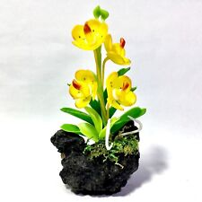 MINIATURE HANDMADE CUTE YELLOW ORCHID FLOWERS ON STUMP PLANTS COLLECTIBLES DECOR