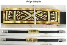 Damascene Gold Bracelet Rectangle Geometric by Midas of Toledo Spain style 8013G
