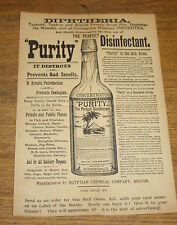 Old Advertisement - Diphtheria Cure - Purity Disinfectant Egyptian Chemical Co