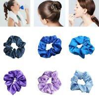 Women Silky Satin Hair Scrunchies Elastic Hair Bands Ponytail Tie Rope HOT J6B8