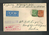1930 England Airmail first Flight Cover FFC to Berlin Germany Night Flight