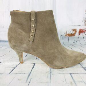 Corso Como Gray Suede Ankle Boots Side Zip Studded Kitten Heels  Sz 9 ~ VGUC