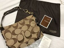 Authentic Coach Carly Hobo Bag Handbag Purse Signature Jacquard Brown Beige