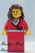 NEW Lego City FEMALE MINIFIG - Girl with Heart Neckless Brown Hair