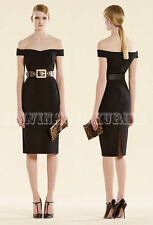 $1,400 GUCCI DRESS BLACK STRETCH CADY OFF THE SHOULDER SHEATH sz IT 42 US 6