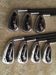 "Ping G410 Red Dot Irons 6-PW, UW, SW CB 55 Senior Flex Graphite Shafts (-1/2"")"