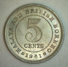 1961 Malaysia 5 Cent British UK Coin UNC