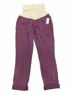 NWT GAP Maternity Best Girlfriend Pants Sz 4 Purple Pull-On Stretch #179349