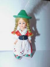 "Vintage Globus Danish Hard Plastic Doll 6"" ethnic international Green hat"