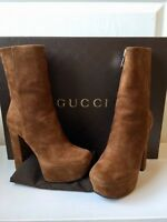$1195 New Gucci Boots Claudie Ankle Brown Suede Chunky Platform Heel 35.5 (5.5)