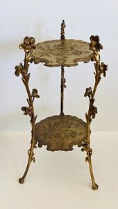 Antique 1880's French Victorian 2-Tier Gold Gilt Iron Brass Plant Stand NICE !