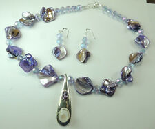 Statement Lilac Mother of Pearl Moonstone Amethyst Necklace & Earrings Sterling