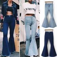 Women's Skinny Flare High Waist Denim Jeans Bell Bottom Stretch Pants Trousers