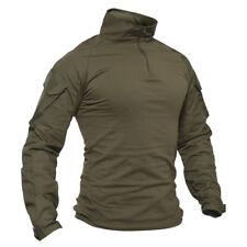 Long Sleeve Mens Hiking Shirts Tactical Combat Military Shirts Zip Polo Shirts