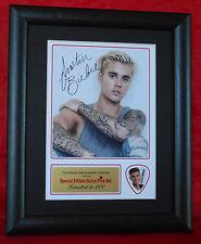 Justin Bieber Preprinted Autograph/Guitar Pick Display Mounted & Framed