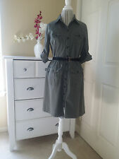MERONA Khaki Stretch Cotton Buttons Down Dress Belted 3/4 Sleeve Sz. L (M)